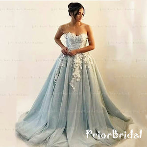 Light Grey Charming Appliques Sweetheart Strapless Gorgeous Ball Gown  Long Prom Dresses,PB1015