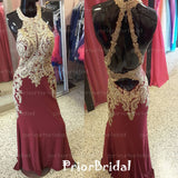 Fashion Popular Golden Lace Appliques Halter Open back Mermaid Long Prom Dresses,PB1016