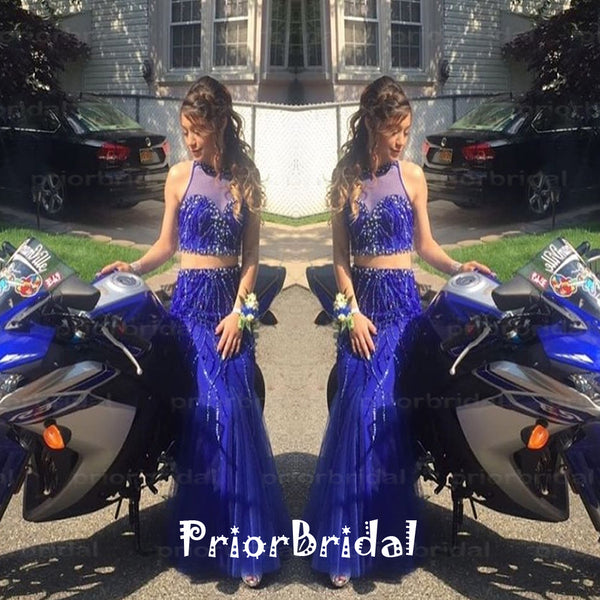 Two Pieces Sweetheart See-through High Neck Sparkly Beading Royal Blue  Long Prom Dresses,PB1017