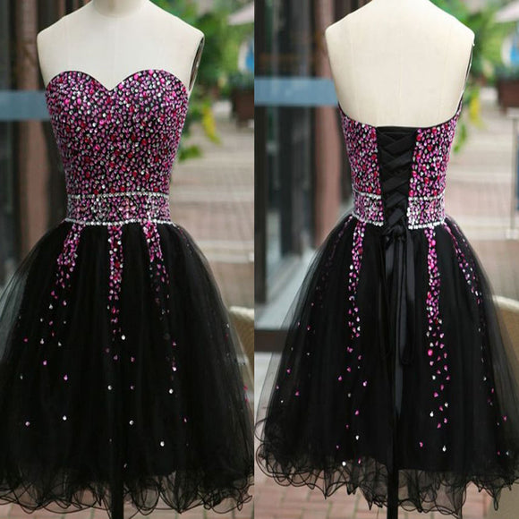 Sexy Short Sweetheart Strapless Lace Up Back Tulle Rhinestone Sequins Knee Length Homecoming Dress, BD00201