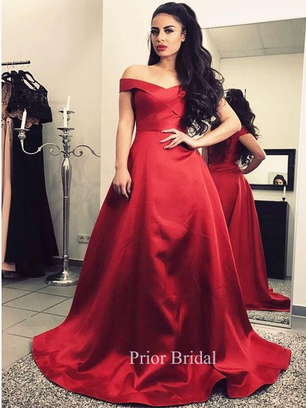 Red Satin Off Shoulder A-line Floor Length Prom Dress KB1114