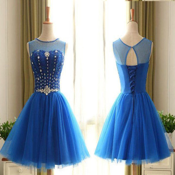 Sweetheart High Neckline Sleeveless Rhinestone Beads Sash Applique Lace Up Back Tulle Homecoming Dress, BD00196