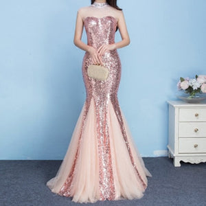 Pink Sequins High Neck See Through Charming Mermaid Evening Prom Dresses. RG0001