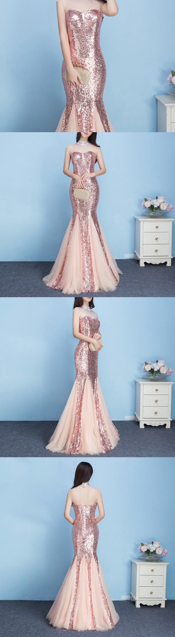 Pink Sequins High Neck See Through Charming Mermaid Evening Prom ...