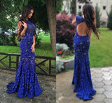 Long Royal Blue Cap Sleeve Open Back Beaded Mermaid Unique Style Prom Dresses.  RG0101