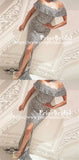 Popular Off Shoulder Shinning Silver Sequins Sexy Mermaid Side Split  Prom Dresses,PB1040