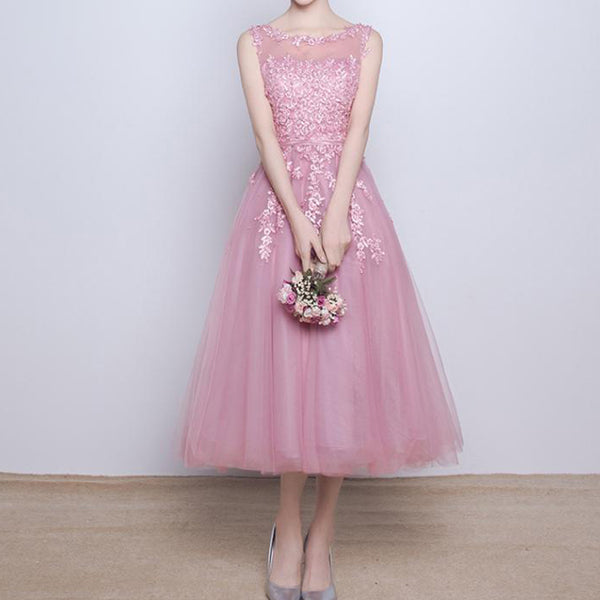 Junior Pink Lace Appliques Pearls Sleeveless Ankle Length Yarn Back Bridesmaid Dresses, WG186