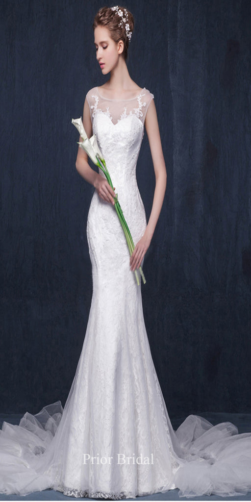 Morden Sheath Sleeveless Illusion Neckline With Lace Applique Wedding Dress KB1112