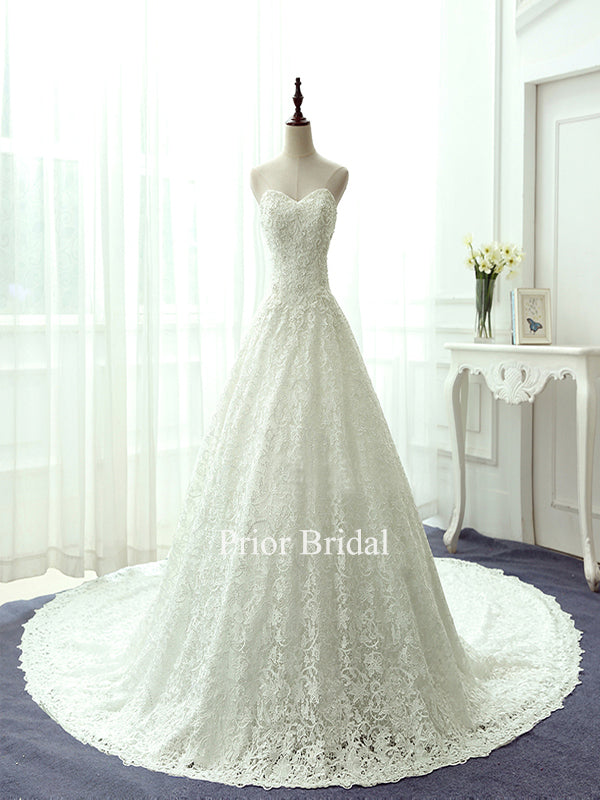 Elegant Sweetheart A Line With Lace Applique Beads Sexy Wedding Dress KB1111