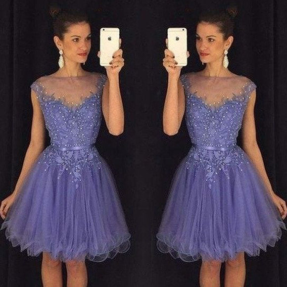 Elegant V-neck Cap Sleeve  Lace Applique Beads Transparent Collar Tulle  Knee Length Homecoming Dress, BD00202