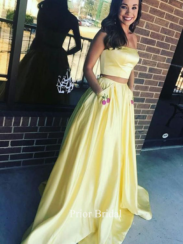 Unique Strapless Yellow Two Piece Prom Dress With Pockets Appliques KB1120