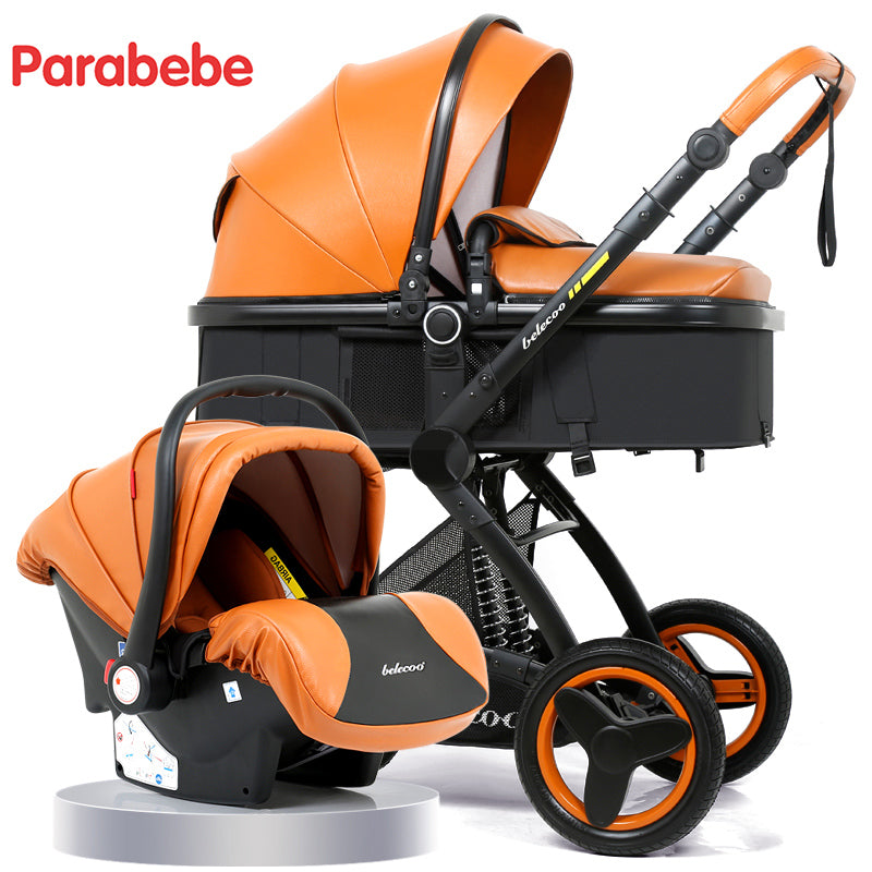 Luxury Baby 3 In 1 Leather Stroller Car Seat Tricycle Pram