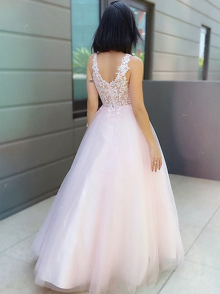 A-line Lace V Neck Long Evening Prom Dresses, Cheap Sweet 16 Prom Dresses, PY023