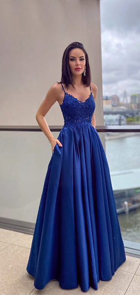 A-line Lace Spaghetti Straps Cheap Evening Prom Dresses, Long Prom Dresses, PY026
