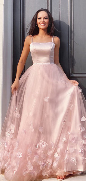Pink Spaghetti Straps Applique Evening Prom Dresses, Sweet 16 Prom Dresses, PY060