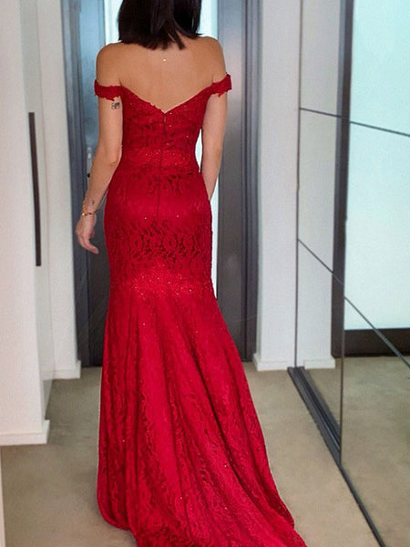 Red Mermaid Off Shoulder Cheap Evening Prom Dresses, Long Prom Dresses, PY027
