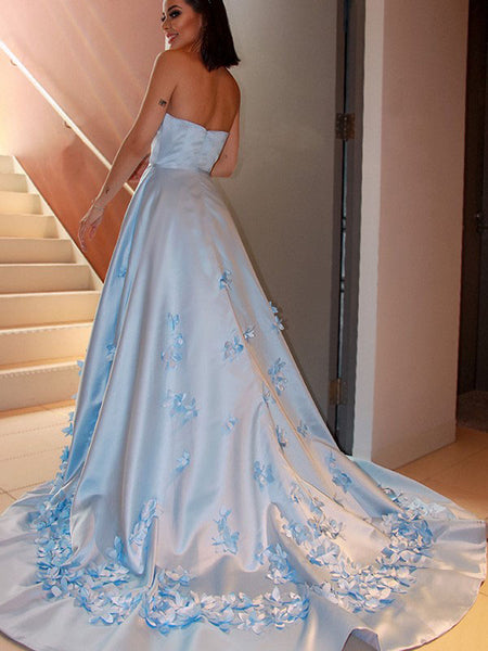Simple A-line Strapless Applique Custom Prom Dresses,Sweet 16 Prom Dresses, PY071