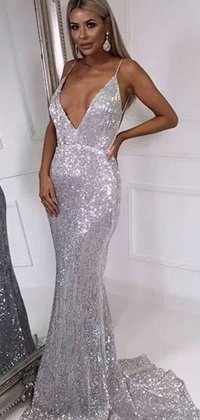 Mermaid Deep V Neck Backeless Custom Prom Dresses,Long Prom Dresses, PY078