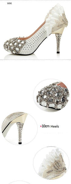 Popular Handmade Rhinestone High Heels Pointed Toe Crystal Wedding Shoes, S002 - Prom Muse