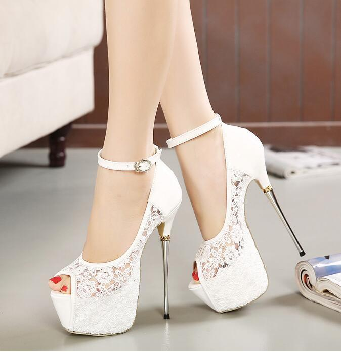 14365f744e1 Super High Heels Fish Toe White Black Lace Sexy Wedding Bridal Shoes, S036