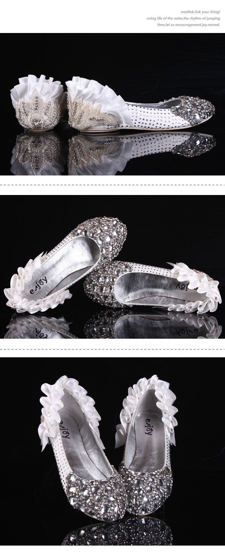 Fashion Sparkly Crystal Flat Heels Pointed Toe Rhinestone Wedding Bridal Shoes, S004 - Prom Muse