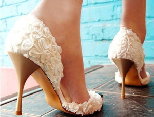 Elegant Flower Lace Women's High Heels Fish Toe Wedding Shoes, S010 - Prom Muse
