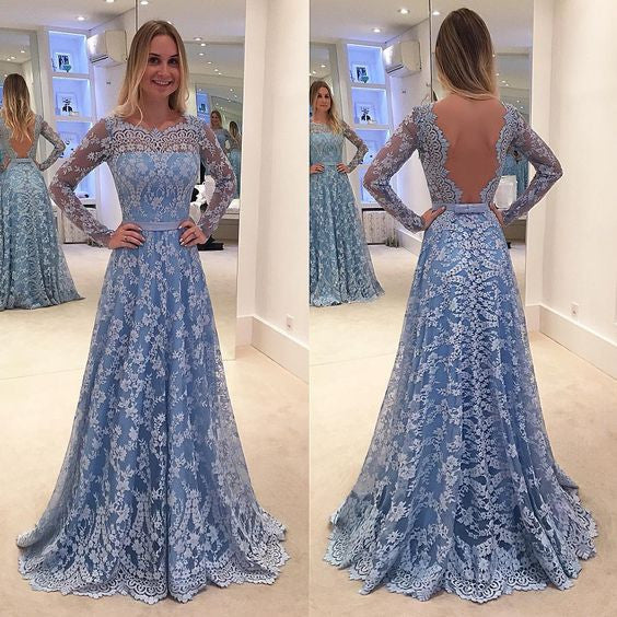 Blue Long Sleeves Formal Long Lace Prom Dresses, PM0100 - Prom Muse