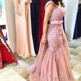 Dusty Pink Arabic Heavy Beaded Mermaid Luxury Prom Dresses, PM0101 - Prom Muse