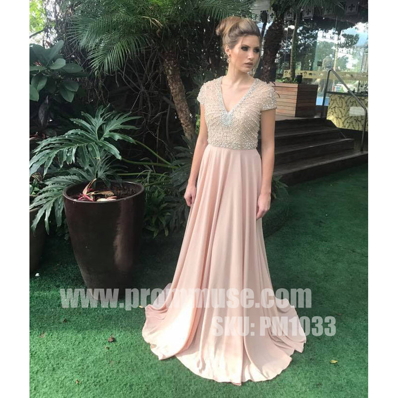 Blush Pink Short Sleeves Beaded Top Chiffon Formal Long Prom Dresses, PM1033