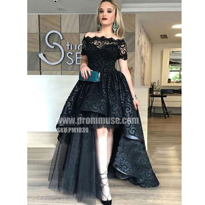 Black Lace Off the Shoulder High Low Short Sleeves Long Prom Dresses, PM1039