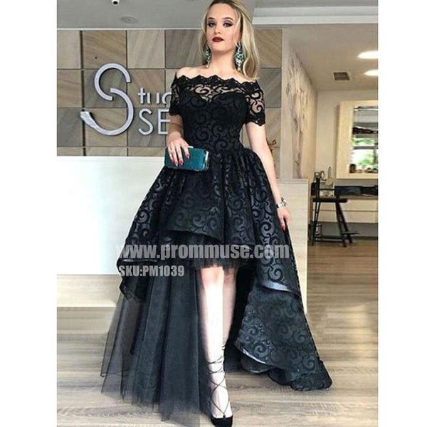 Black Lace Off the Shoulder High Low Short Sleeves Long Prom Dresses, PM1039 - Prom Muse