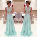 Blue Applique Seen Through Junior Long Prom Dresses, PM0103 - Prom Muse