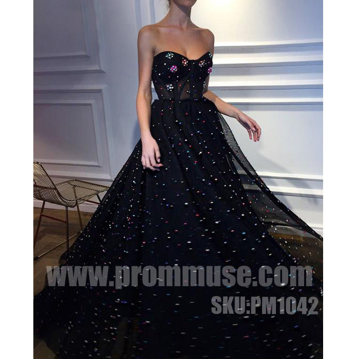 Black Sleeveless Sweetheart Charming Popular Inexpensive Long Prom Dresses, PM1042