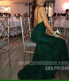 Green Lace Open Back Mermaid Elegant Popular Long Prom Dresses, PM1044 - Prom Muse