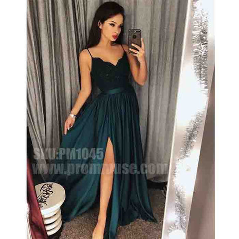 Popular Side Split Spaghetti Strap Cheap Formal Long Prom Dresses, PM1045