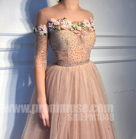 Charming Affordable Half Sleeves Applique Long Evening Prom Dresses, PM1048 - Prom Muse