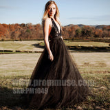 Black Halter V Neck Sexy Cheap Formal Long Evening Prom Dresses, PM1049 - Prom Muse