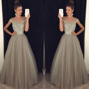 Cap Sleeve Grey Elegant Tulle Beaded Long Prom Dresses, PM0104