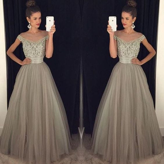 Cap Sleeve Grey Elegant Tulle Beaded Long Prom Dresses, PM0104 - Prom Muse