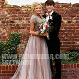 Beaded Short Sleeves Open Back Unique Long Evening Prom Dresses, PM1051 - Prom Muse