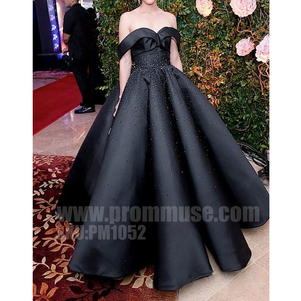 Off the Shoulder Black Star Styles Ball Gown Long Evening Prom Dresses, PM1052 - Prom Muse