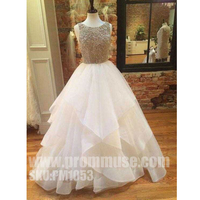 Popular Inexpensive Elegant Open Back Beaded Long Prom Dresses, PM1053 - Prom Muse