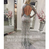 Unique Long Sleeves Open Back Split Sexy Cheap Long Prom Dresses, PM1055