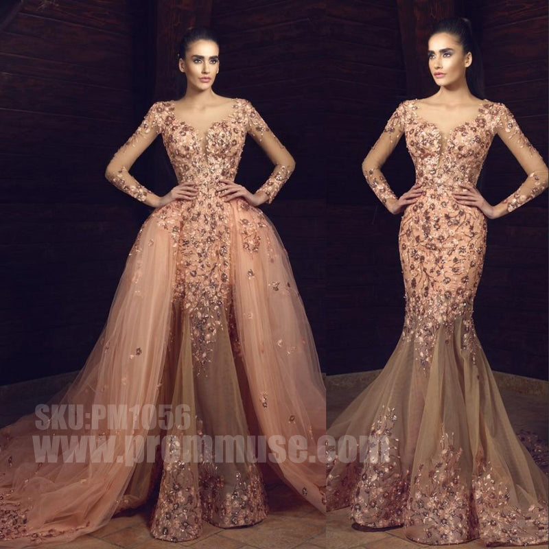 Charming Long Sleeves Two Pieces Mermaid Sexy Cheap Long Prom Dresses, PM1056
