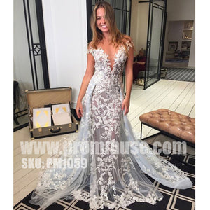 Charming Lace V Neck Affordable Long Evening Prom Dresses, PM1059 - Prom Muse
