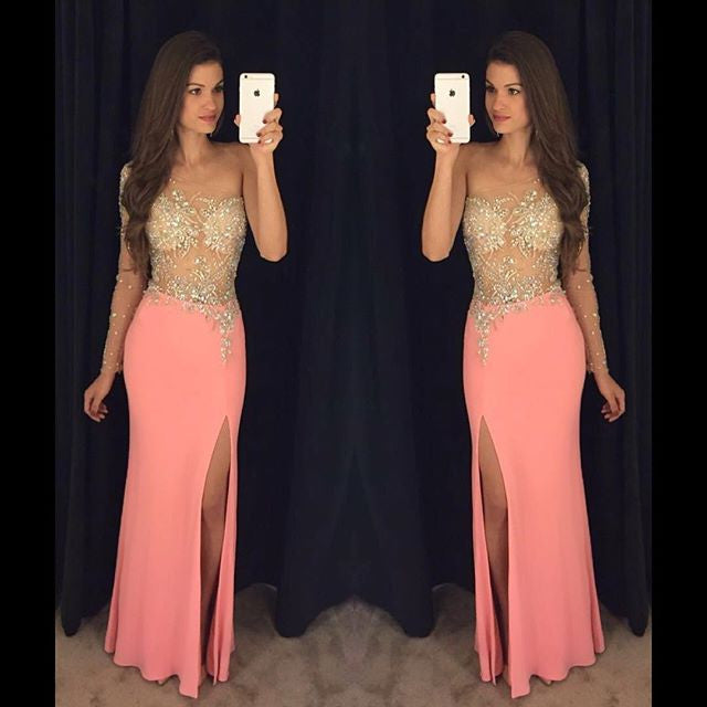 One Shoulder Side Slit See Through Sexy Long Prom Dresses, PM0105