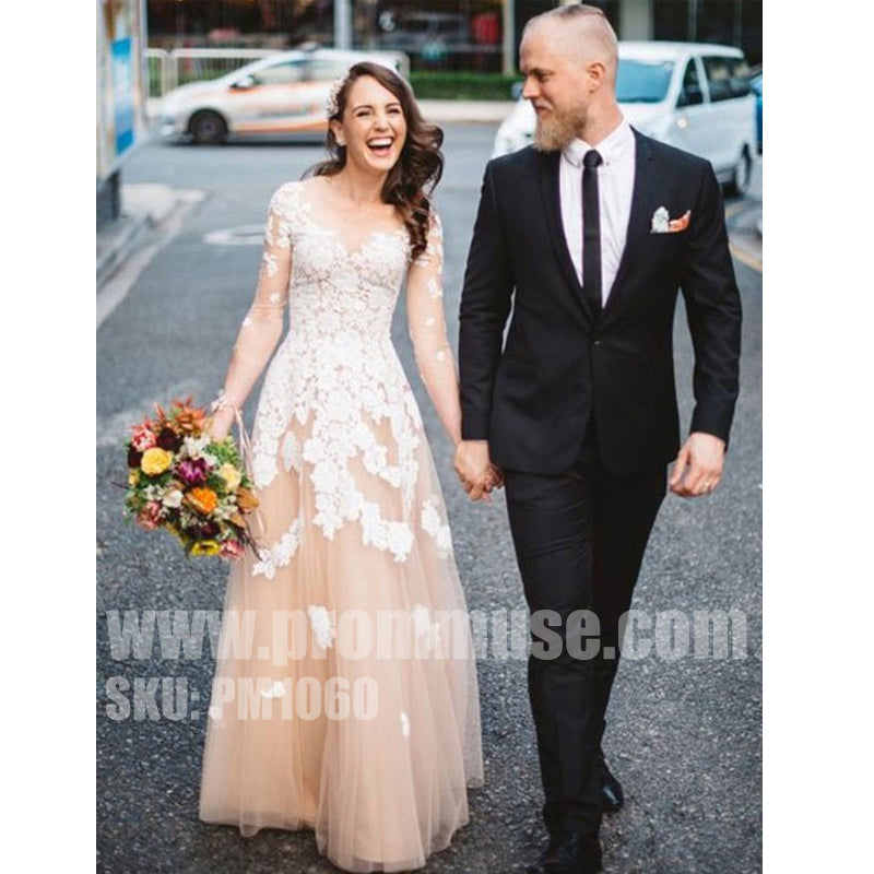 Long Sleeves Formal A Line Tulle Applique Long Evening Prom Dresses, PM1060 - Prom Muse