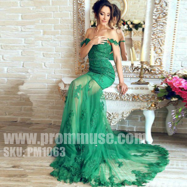 Green Off the Shoulder Mermaid Sexy Long Evening Prom Dresses, PM1063