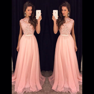 Pink Lace Top Formal Junior Cheap Long Prom Dresses, PM0107