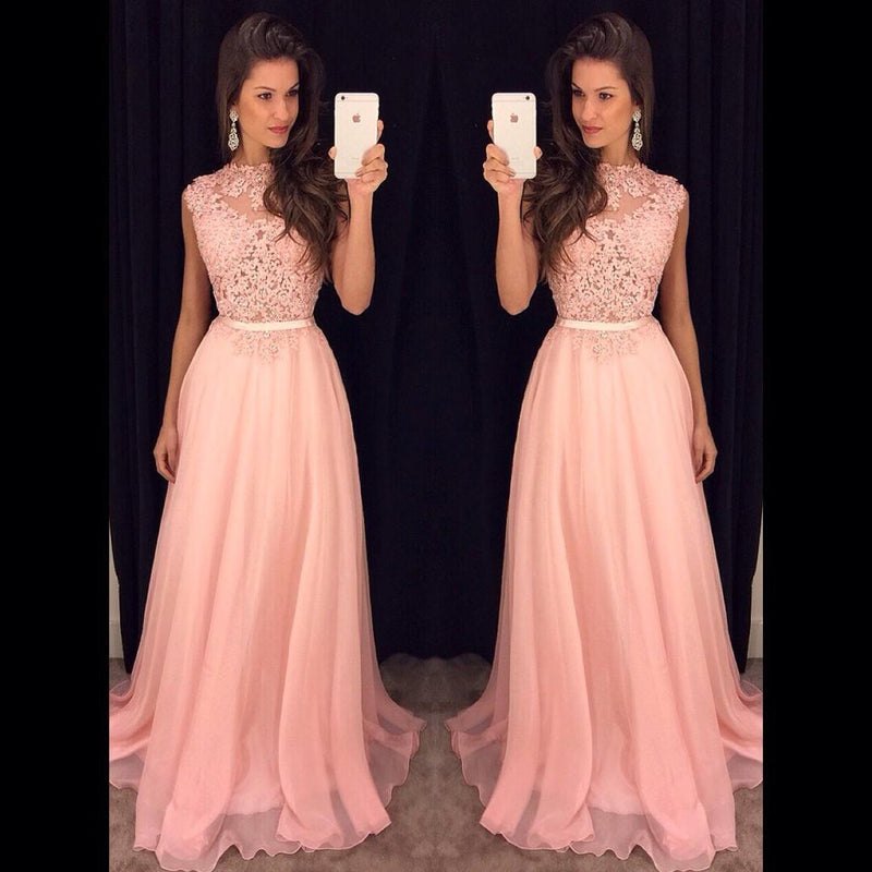 Pink Lace Top Formal Junior Cheap Long Prom Dresses, PM0107 - Prom Muse
